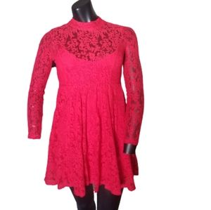 Free people red crochet Dress size XS